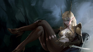 Artwork Women Fantasy Art Fantasy Girl Heels Legs Legs Crossed Blonde Looking At Viewer Dagger Point 1920x1517 Wallpaper