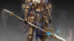 Kim Sung Hwan Drawing Men Paladin Warrior Armor Gold Silver Hair Beard Weapon Spear Smoke Fantasy Ar 2987x3000 Wallpaper
