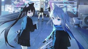 Cat Girl Anime Girls Gun Scarf Black Hair Red Eyes Blue Hair Blue Eyes Pink Hair Technology Brunette 1910x1351 Wallpaper