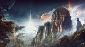 Cliff Fantasy Gorilla Landscape Monkey Mountain Planet Sci Fi Waterfall 2560x1440 Wallpaper