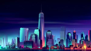 Artistic City Cityscape New York Skyscraper 2880x1800 Wallpaper