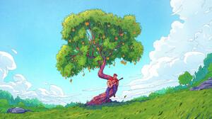 Christian Benavides Digital Art Fantasy Art Guitar Clouds Trees Pear Tree 3840x2160 Wallpaper