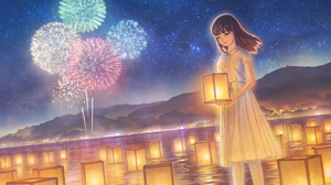 Fireworks Girl Light Night Starry Sky Water 1920x1357 Wallpaper