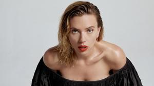 Celebrity Scarlett Johansson Blonde Red Lipstick Blue Eyes Women Bare Shoulders Actress 3840x2160 Wallpaper