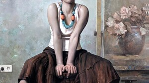 Dake Wang Women Artwork Sitting ArtStation Looking At Viewer Women Indoors Skirt Necklace 1612x2160 wallpaper