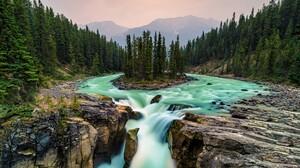 River Jasper National Park Canada Forest Mountain 5108x2873 Wallpaper