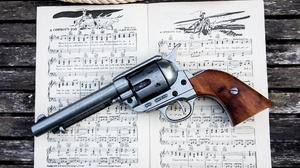 Musical Notes Gun Revolver Weapon 2048x1365 Wallpaper