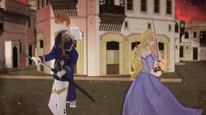 Blonde Blue Eyes Dress Katana Long Hair Man Prince Princess Woman 4093x2894 Wallpaper