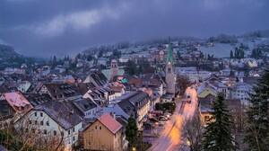 Austria Feldkirch House Road Snow Town Winter 2400x1600 Wallpaper