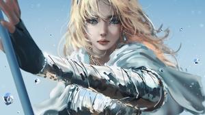Luxanna League Of Legends Staff Blonde Blue Eyes Earring Women Video Games Long Hair Armor Wizard Ne 3000x1800 Wallpaper