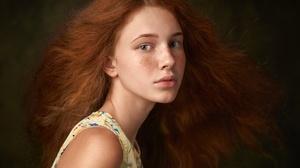 Blue Eyes Face Freckles Girl Long Hair Model Redhead Woman 2000x1333 wallpaper
