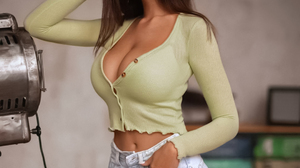 Women Brunette Long Hair Looking Away Straight Hair Blouse Jeans Torn Clothes Hands In Pockets Indoo 1080x1350 Wallpaper