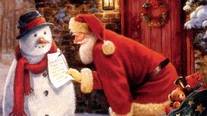 Snowman Santa 1280x1024 Wallpaper