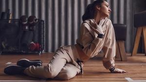 Kirill Chepurnoy Women Renata Stupina Brunette Looking Away Sportswear Sneakers Brown Clothing Gyms  2560x1706 Wallpaper