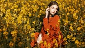 Woman Model Girl Brunette Yellow Flower 2048x1365 Wallpaper