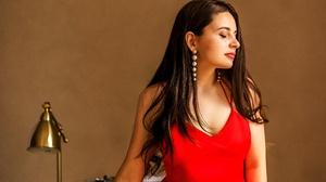 Brunette Girl Long Hair Model Mood Red Dress Woman 6000x4000 Wallpaper