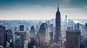 Cityscape New York City Empire State Building One World Trade Center Brooklyn Bridge Manhattan Skyli 3556x1489 Wallpaper
