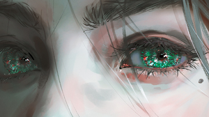 Drawing Digital Art Fantasy Art Fantasy Girl Eyes Green Eyes Artwork Illustration Nixeu 4492x1560 Wallpaper