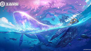 Fantasy Art Digital Art Likui Tuosi Whale Fish Underwater Watermarked 1920x1015 Wallpaper