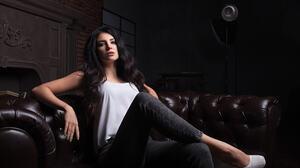 Woman Black Hair Long Hair Jeans High Heels Brown Eyes Sitting 2048x1365 Wallpaper