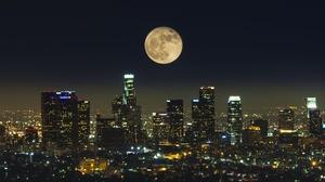 Moon Night City Usa Building Skyscraper 3600x2025 Wallpaper