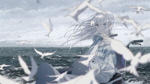 Anime Anime Girls White Hair Blue Hair Ocean View Wheelchair Kururi 2088x1488 Wallpaper