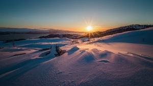 Nature Snow Landscape Sunrise Sky 2048x1365 Wallpaper