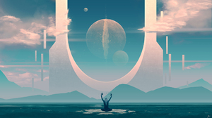 JoeyJazz Science Fiction Landscape Space Art DeviantArt Digital Art Rafiki 2560x1440 Wallpaper