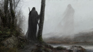 Artem Demura Dark Digital Art Fantasy Art Trees Mist Giant Sword 1920x1005 Wallpaper