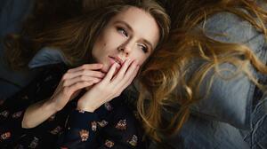Natalya Makaruk Women Sergey Fat Blonde Portrait Blue Eyes Lying Down In Bed 1920x1200 Wallpaper