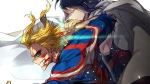 All Might Black Hair Blonde Blood Blue Eyes Boku No Hero Academia Glowing Eyes Man My Hero Academia  3840x2160 Wallpaper