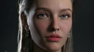 Hyeseon Oh Portrait Looking At Viewer Women Digital Art CGi 3D Blue Eyes Freckles Open Mouth Brunett 1922x1970 Wallpaper