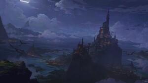 Artwork Fantasy Art Night Castle 1920x1023 Wallpaper