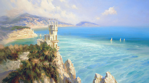 Artistic Castle Fantasy Horizon Landscape Mountain Ocean Painting 1920x1080 Wallpaper