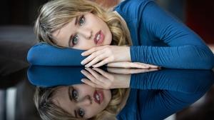 Reflection Blonde Woman Blue Eyes 6234x4499 Wallpaper