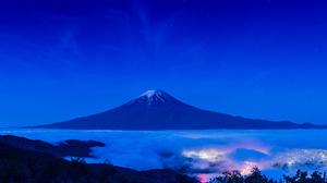 Fog Japan Landscape Light Mount Fuji Mountain Night Volcano 2048x1363 Wallpaper