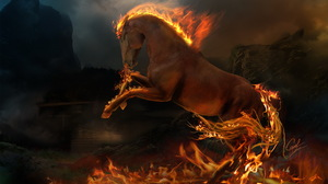 Rapidash Pokemon Fire Artistic Dark Flame Horse Animal Fantasy 1920x1200 Wallpaper