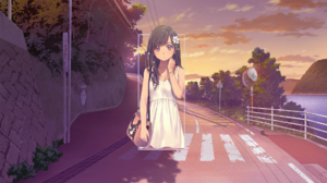 Anime Anime Girls Street Afternoon Road Photoshop Digital Art Picture In Picture Anime Landscape Tre 1920x1080 wallpaper