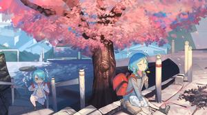 Anime Anime Girls BanG Dream Hikawa Sayo Hikawa Hina Sakura Tree Cherry Trees Blue Hair Ahonote 5097x2328 wallpaper