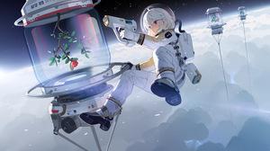 Anime Anime Girls Space Space Suit Blonde Short Hair Dark Eyes Clouds Stars Flowers Lightning 4093x2792 Wallpaper