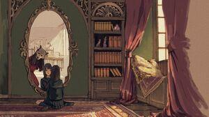 Anime Anime Girls Mirror Books Wolf Mask Dark Hair Long Hair School Uniform Window Carpet Pillow Sit 6890x4134 Wallpaper