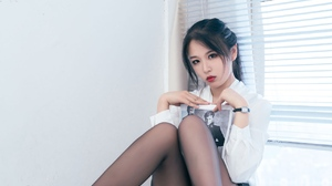 Women Model Chinese Model Women Indoors Heels Red Lipstick Brunette Dark Hair Asian 1280x1920 Wallpaper