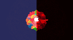 Apple Inc Logo Colorful Black Red Minimalism 3072x1920 Wallpaper