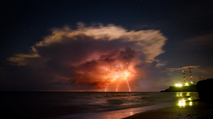Storm Lightning Night Starry Night Beach Sky Horizon Clouds Nature Long Exposure Time Lapse Sea 3840x2160 Wallpaper