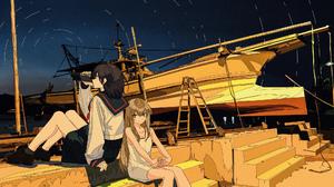 Anime Cogecha Artwork Anime Girls School Uniform Dress Ship Boat 2000x1149 Wallpaper