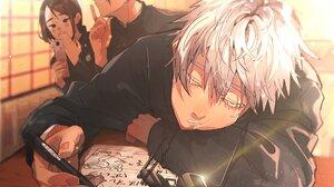 Boy Girl Glasses Satoru Gojo School Uniform Shoko Ieiri Suguru Geto White Hair 2048x1413 Wallpaper