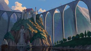 Bridge Castle Ship Statue 3646x2052 wallpaper