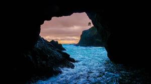 Cave Earth Ocean Rock Sea Sunset 1920x1200 Wallpaper