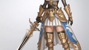 Seungjin Ok Drawing Women Pink Hair Short Hair Armor Warrior Gold Weapon Sword Shadow 1920x2449 Wallpaper