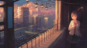 Anime Girls Original Characters Cityscape Nasitaki 2239x1080 Wallpaper